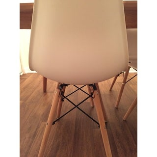 COSTWAY Set of 4 Mid Century Modern Style DSW Dining Side Chair Wood Leg - White