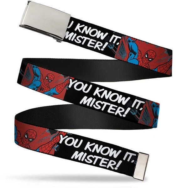 Blank Chrome Buckle Spider Man You Know It, Mister! Webbing Web Belt