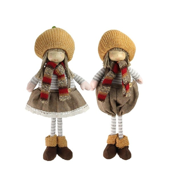 "2-Piece Set of Thanksgiving Autumn Standing Boy and Girl Gnomes with Pumpkin Hats 15"" - multi"