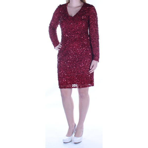 b077242c67d Shop ADRIANNA PAPELL Womens Red Sequined Long Sleeve V Neck Below The Knee  Sheath Cocktail Dress Plus Size: 4 - Free Shipping On Orders Over $45 -  Overstock ...