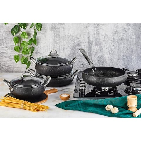 Rell 7 Pieces Hard-Anodized Aluminum Non Stick Cookware Set