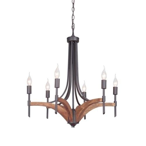 """Jeremiah Lighting 40326 Tahoe 6 Light 25"""" Wide Single Tier Wood Chandelier"""