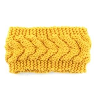 Woman Nylon Twist Braided knitted Head Wrap Hair Band Sports Ski Headband Yellow