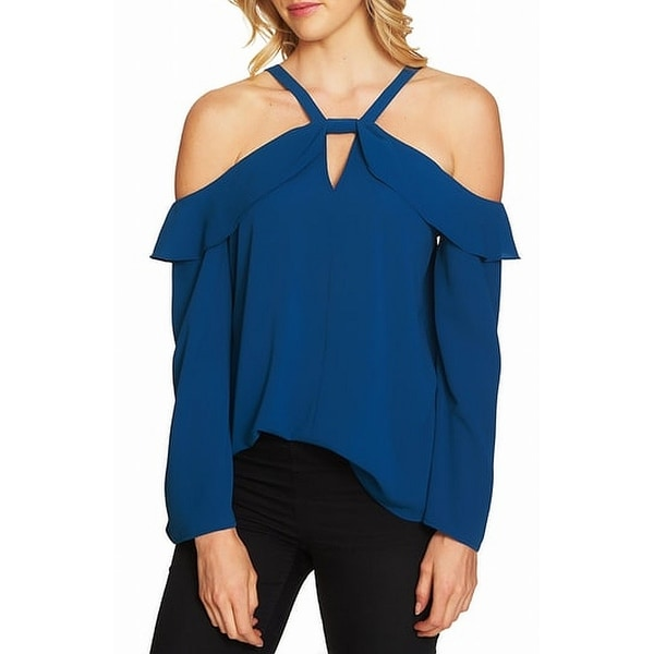 8dd8eb999 Shop CeCe Womens Medium Ruffle Keyhole Cold-Shoulder Blouse - Free Shipping  On Orders Over $45 - Overstock - 27004767