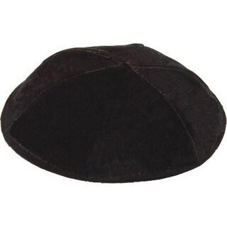 6 Part Black Yarmulke With Rim Israeli  Washable Size 7