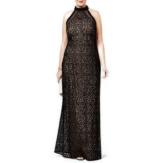 Nightway Petite Sequined Lace Evening Gown Dress Black/Nude - 10P
