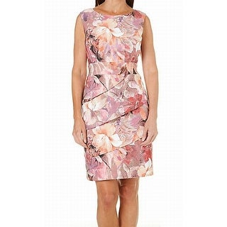 Connected Apparel NEW Pink Mauve Women's 10 Floral Tiered Sheath Dress