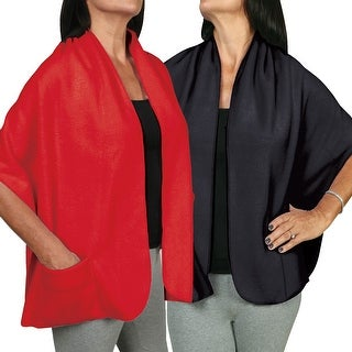 Women's Fleece Pocket Shawl Set Of Two - Black And Red - One size