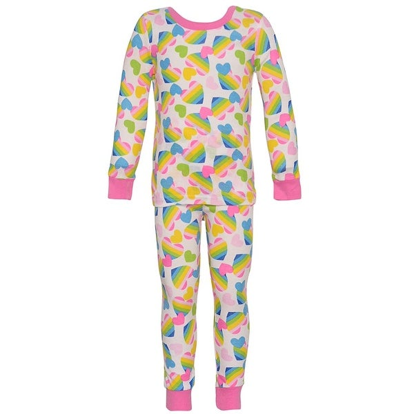 Mon Petit Baby Girls Multi Color Heart Print Long Sleeve 2 Pc Pajama Set 18M