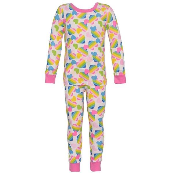 Mon Petit Baby Girls Multi Color Heart Print Long Sleeve 2 Pc Pajama Set 24M