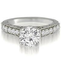 0.85 cttw. 14K White Gold Antique Milgrain Round Cut Diamond Engagement Ring