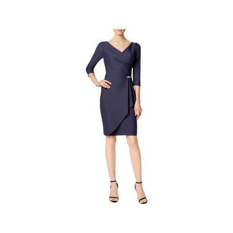 Alex Evenings Womens Petites Wrap Dress Rhinestone Three-Quarter Sleeves