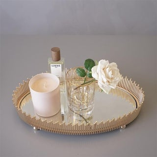 FloralGoods Round Table Tray Decorative Gold Tray Modern Tray