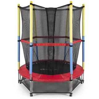 55 in. Mini Exercise Trampoline for Kids with Safety Net, Blac