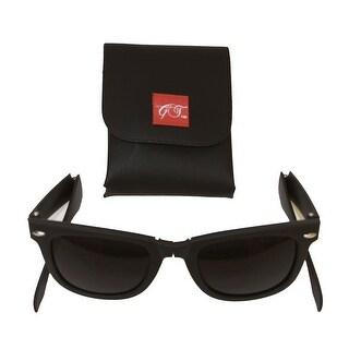 Gravity Shades Foldable Matte Black Sunglasses +  GT  Case - One size