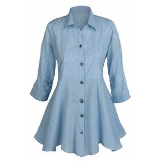 Women's Tunic Top - Soutache Sky Blue Button Down Collared Shirt