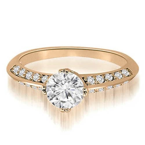 1.00 cttw. 14K Rose Gold Knife Edge Round Cut Diamond Engagement Ring