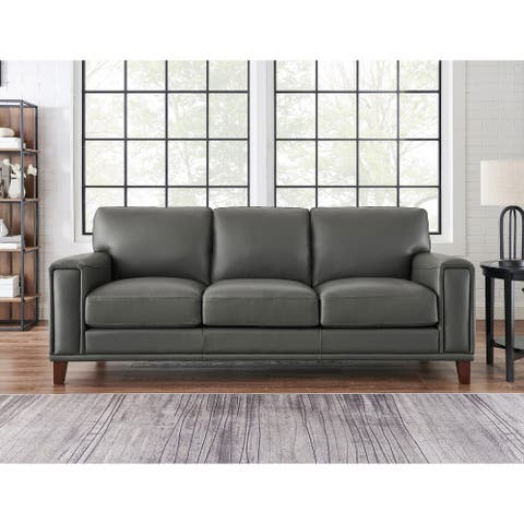 Hydeline Hayward Top Grain Leather Sofa With Feather, Memory Foam and Springs