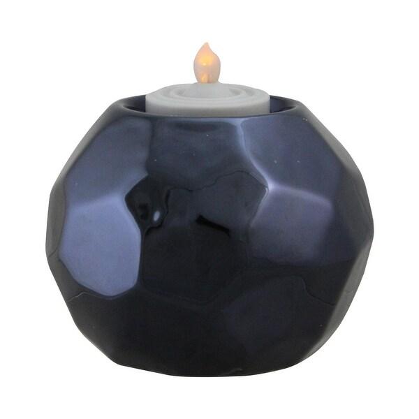 "3"" Navy Blue Geometric Ceramic Tea Light Candle Holder Decoration"