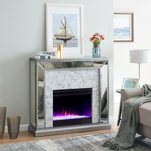 Silver Orchid Tranton Mirror Fireplace with Color Changing Firebox