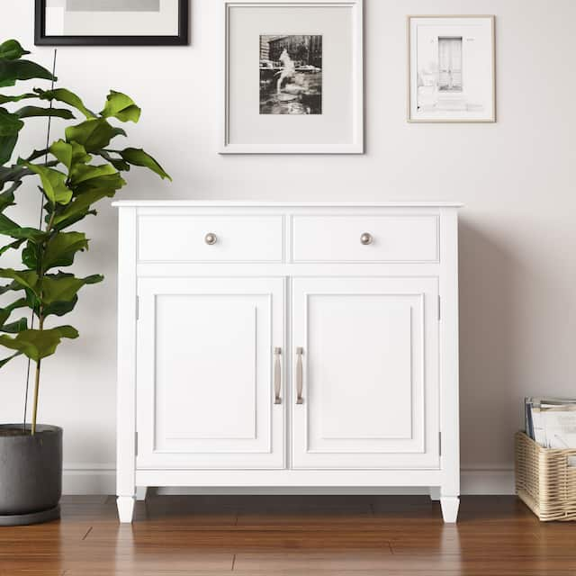 """WYNDENHALL Hampshire SOLID WOOD 40 inch Wide Traditional Entryway Storage Cabinet - 40""""w x 15""""d x 36"""" h - White"""