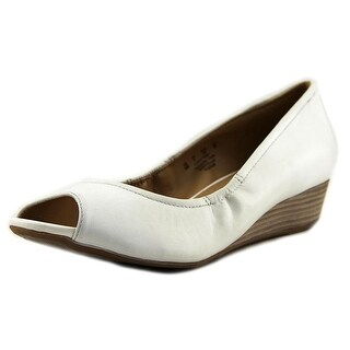 Naturalizer Contrast Women  Open Toe Leather White Wedge Sandal