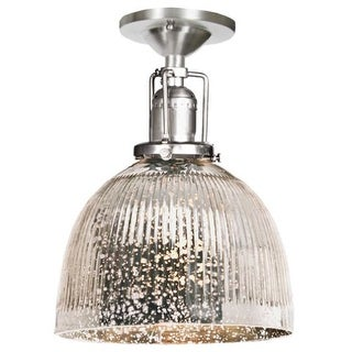 """JVI Designs 1202-17-S5-SR Union Square 1 Light Semi-Flush 9.75"""" Tall Ceiling Fixture with Antique Mercury Ribbed Mouth-Blown"""