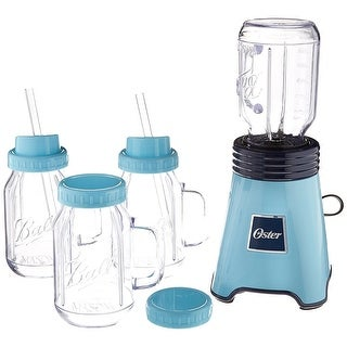 Oster BLSTPB-BALL2-BL Personal Blender Blue with Blending Mason Jars