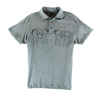 Michael Kors NEW Gray Mens Size Large L Double Pocket Polo Rugby Shirt