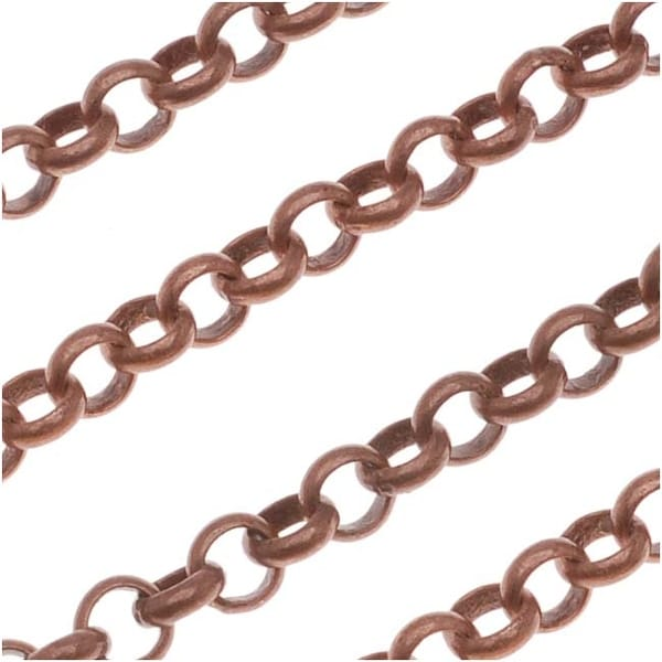 Antiqued Copper Plated Round Rolo Chain 3.7mm Bulk By The Foot