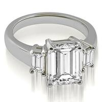 1.50 cttw. 14K White Gold Three-Stone Emerald Cut Diamond Engagement Ring