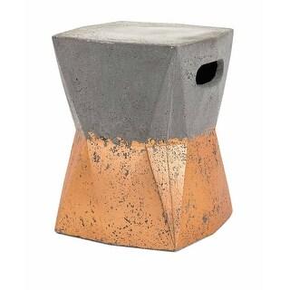 """16.25"""" Decorative """"Camden"""" Gray and Metallic Copper Outdoor Cement Garden Stool"""