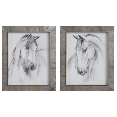 Uttermost Equestrian Watercolor Framed Prints (Set of 2)