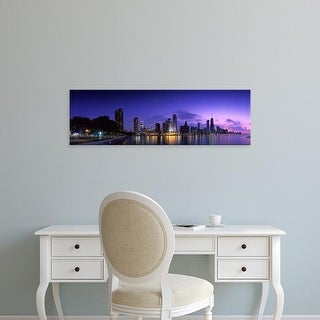 Easy Art Prints Panoramic Images's 'Night Skyline Chicago IL USA' Premium Canvas Art
