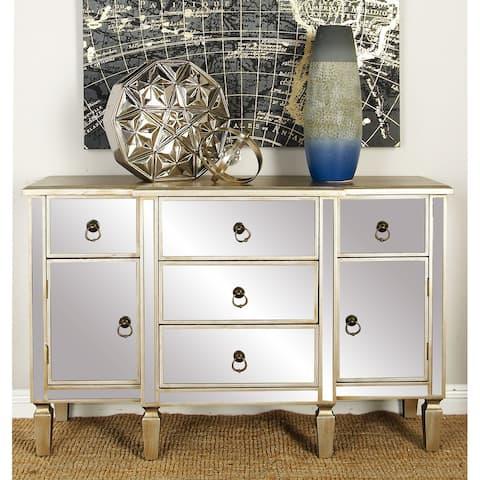 Beige Glass Glam Cabinet 31 x 48 x 16 - 48 x 16 x 31