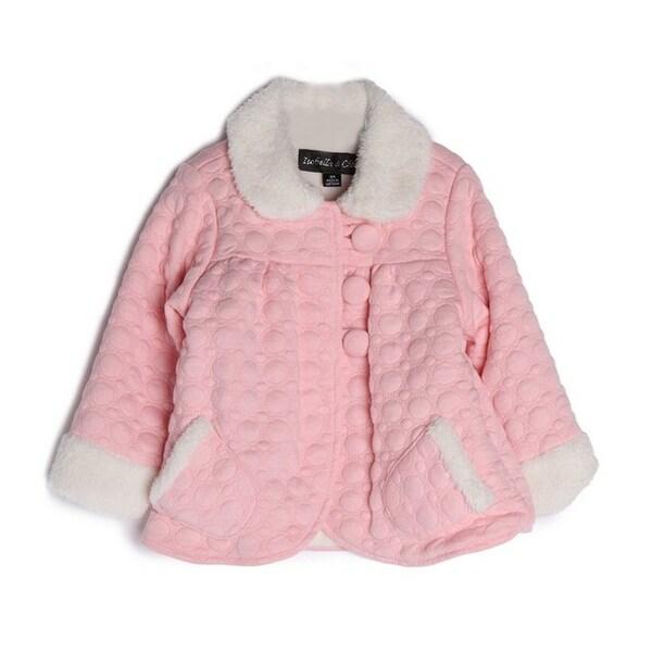 Isobella & Chloe Baby Girls Pink Cotton Fur Cuffs Collar Button Jacket 12M