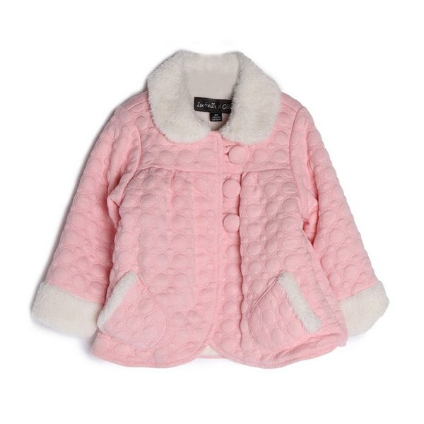 Isobella & Chloe Baby Girls Pink Cotton Fur Cuffs Collar Button Jacket 6M