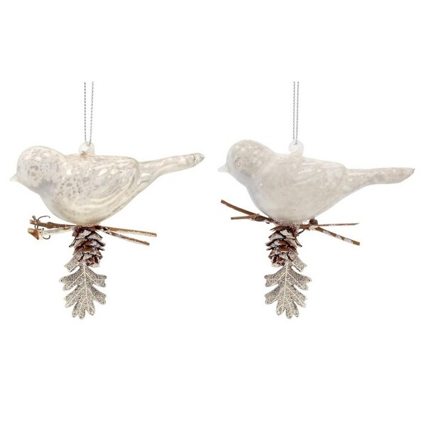 "Club Pack of 12 Rustic Lodge Shiny and Matte Mercury Glass Perched Bird Ornaments 6""H"