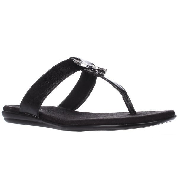 Aerosoles Supper Chlub Thong T-Strap Flat Sandals, Black