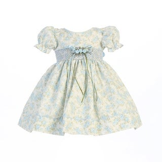 Baby Girls Light Blue Floral Print Smocked Waist Easter Dress 0-24M