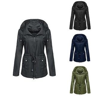 Women Fashion Narrow Waist Waterproof Autumn Coat Jacket Hooded Windbreaker Top