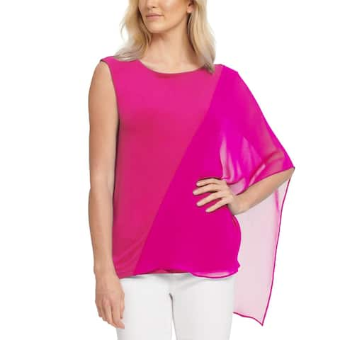 DKNY Womens Top One Sleeve Overlay - Pink