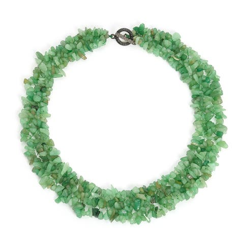 Green Aventurine Gemstone Chunky Cluster Bib Chips Multi Strand Statement Necklace For Women Silver Plate Clasp