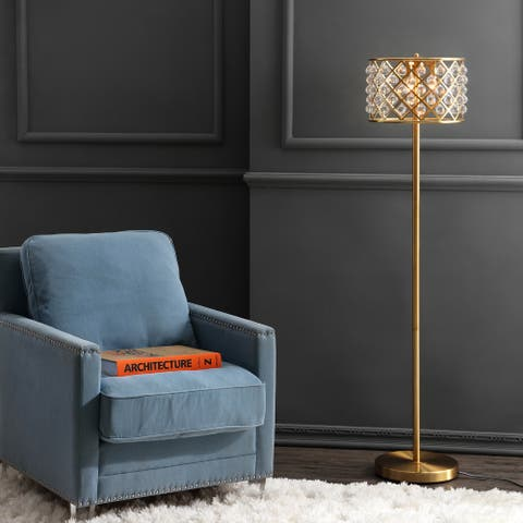 "Elizabeth 60"" Crystal/Metal LED Floor Lamp, Brass Gold/Clear by JONATHAN Y - Gold/Satin Brass"