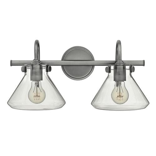 "Hinkley Lighting 50026 2 Light 19.25"" Width Bathroom Vanity Light with Clear Cone Shade from the Congress Collection"