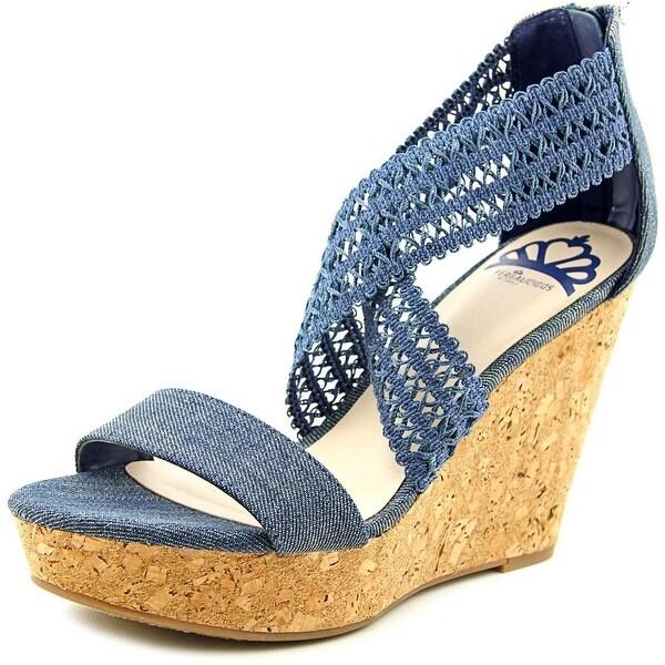 Fergalicious Vanessa Women Open Toe Canvas Blue Wedge Sandal