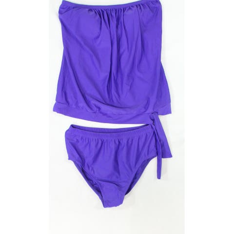 Dippin' Daisy's Womens Bathing-Suit Purple Size 8 Two-Piece Strapless