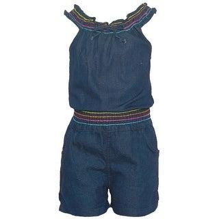 Real Love Little Girls Navy Denim Stitch Detail Tie Casual Romper