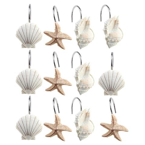 AGPtek 12PCS Shower Curtain Hooks Bathroom Home Fashions Seashell Anti Rust Decorative Resin Hooks - S