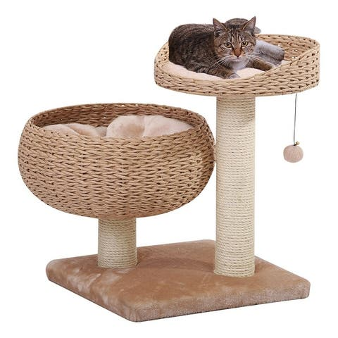 PetPals-Paper Rope Natural Bowl Shaped with Perch Cat Tree